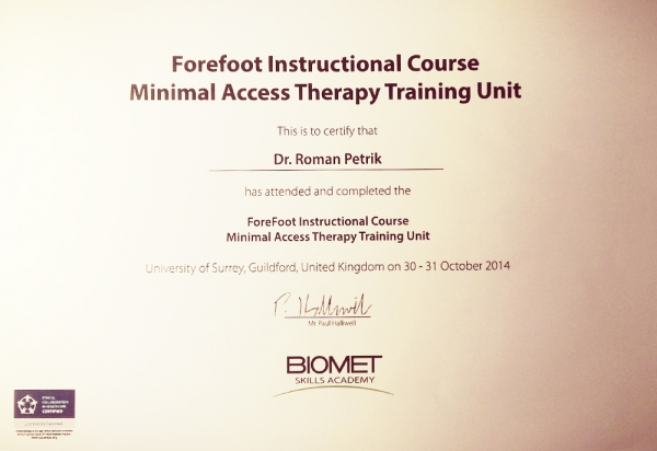Certifikát Forefoot Instructional Course Minimal Acess Therapy Training Unit